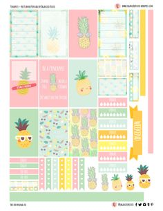 Free Printable Pineapples Planner Stickers from Organized Potato