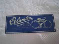 Blue & White COLUMBIA BICYCLES METAL SIGN Westfield Mass