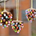 Pom Poms and Pinecones Christmas Ornaments
