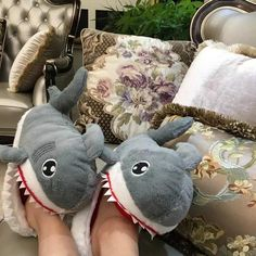 Shark Plush Slippers for Grown Ups