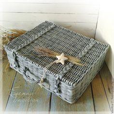 Купить Романтичный плетеный чемоданчик (большой) - чемодан плетеный, чемоданчик, большой, сундук, шкатулка, плетеный короб
