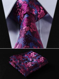 "TF2005H8 Hot Pink Blue Floral 3.4"" 100%Silk Wedding Jacquard Woven Men Tie Necktie Pocket Square Handkerchief Set Suit"