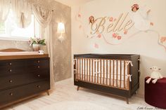 J. R. Martinez' gorgeous nursery design by Little Crown Interiors. Love the mural above the crib!