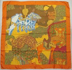 "Auth HERMES ""Art des Steppes"" by Annie Faivre Orange Silk Scarf 5106 #Hermes #Scarf"