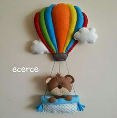 Enfeite de porta ursinho balão feltro