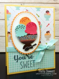 Stampin' Up! Cool Treats Ice Cream Sundae Card by Patty Bennett, featuring Tasty Treat paper and Frozen Treats framelits. Paper Crafts, Diy Crafts, Marianne Design, Copics, Kids Cards, Cute Cards, Greeting Cards Handmade, Homemade Cards, Stampin Up Cards