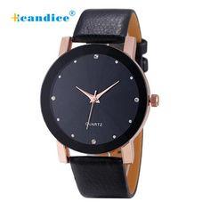 Fantastic Rhinestone Leather Strap Wristwatch