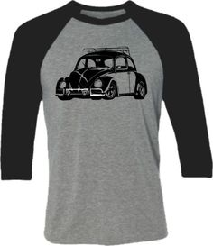 Retro Car Shirt-VW Bug Classic Beetle Car Baseball by SpokeNwheelz