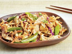 Stop in the deli for a rotisserie chicken, and grab a few convenience items from the produce section, and you can have this tasty Asian salad mixed 15 minutes after you get home.