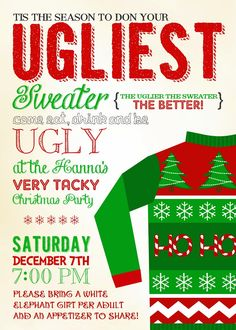 Tacky Sweater Christmas Party Invite Invitations Announcements