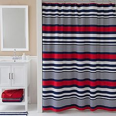 Complete your bathroom's look with the clean lines of the Izod Varsity Stripe Shower Curtain. Featuring stylish horizontal stripes, this cotton-blend shower curtain brings a contemporary vibe to your décor.