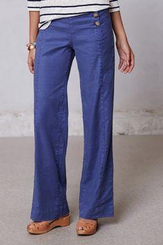 - By Level 99 - Back welt pockets - Linen, lyocell, spandex - Machine wash - Regular: 32L - Petite: 30L - Imported