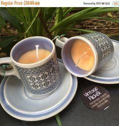 Black Friday Sale Teacup Candles Pair Vintage by VintageFlicker