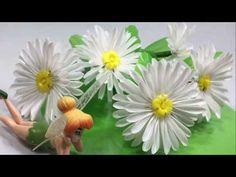Bunga KRISAN dari SEDOTAN | Crisantium Flower with Drinking straw diy - YouTube Diy Straw, Fabric Paper, Paper Flowers, Drinking, Bottles, Arts And Crafts, Decoration, Youtube, Straws
