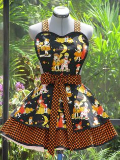 Halloween Double Flounce Apron  Pin Up  Only One by AquamarCouture