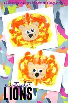 Paint Splat Lions - Kid Craft #gluedtomycrafts
