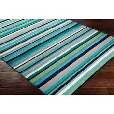 Shop Godric Teal Striped Area Rug - x - Overstock - 22403132 Teal Area Rug, Area Rugs, Outdoor Rugs, Outdoor Blanket, Cool Color Palette, Oriental Design, Striped Rug, Cool Tones, Navy And Green