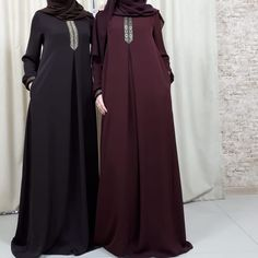 Image may contain: people standing Abaya Fashion, Women's Fashion Dresses, Simple Abaya Designs, Hijab Gown, Moslem Fashion, Modele Hijab, Hijab Style, Modest Dresses, Woman Outfits