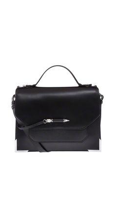 MACKAGE JORI-S5 MEDIUM BLACK LEATHER SATCHEL BAG #mackage #handbags