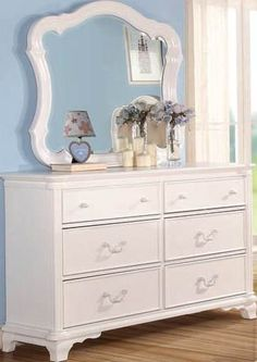 Ira Youth White Mirror & Dresser