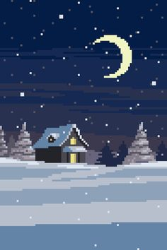 Winter snowing in the moonlight pixel art animation Cool Pixel Art, Cool Art, Aesthetic Backgrounds, Aesthetic Wallpapers, Arte 8 Bits, Pixel Art Background, Pixel Animation, 8bit Art, Pixel Art Games
