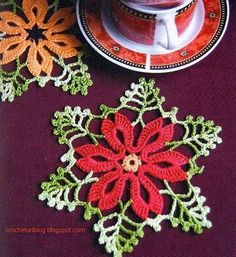 Beautiful little crochet doily for #Christmas! Click on picture to see the chart. Happy Holidays from #KnittingGuru ** http://www.pinterest.com/KnittingGuru