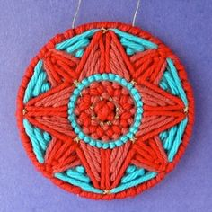 Plastic canvas rounds can be stitched a million ways. This is a great project for holiday parties!