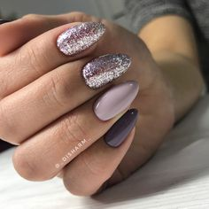 Nail art design : gliter nail , mismatched nail design ideas #nailpolish #nailart #nails