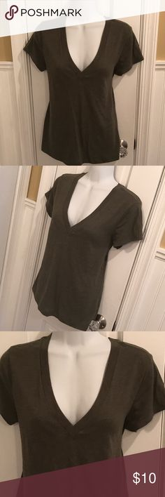 """Olive green top Vneck tee. About 25"""" long. Express Tops Tees - Short Sleeve"""