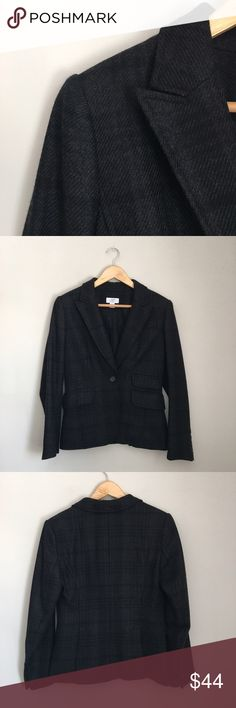 LOFT Black Paid Blazer Black plaid wool blend blazer by Ann Taylor LOFT. 40% wool 30% polyester 30% rayon. Fully lined and 100% acetate. Size 6 petite. LOFT Jackets & Coats Blazers