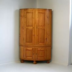 Antique Furniture Swedish Pine Corner Cabinet Rustic Country Bow Front