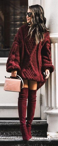 #winter #fashion / Red Knit Dress / Burgundy Velvet OTK Boots / Pink Shoulder Bag