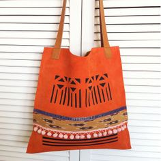 Leather Tote 04 // orange suede with print by BlackbirdAndTheOwl