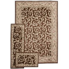 Infinity Home Breathless 3 Piece Rug Bundle French Scrolls Brown 5 Feet By 7