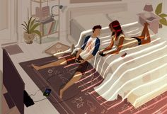 Ilustración pareja jugando videojuegos