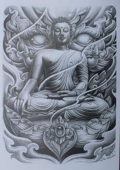 Japan Tattoo Design, Buddha Tattoo Design, Buddha Tattoos, Art Buddha, Buddha Painting, Owl Tattoo Drawings, Tattoo Sketches, Sleeve Tattoos, Body Art Tattoos