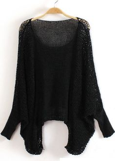 Solid Black Round Neck Batwing Sleeve Pullover Sweaters