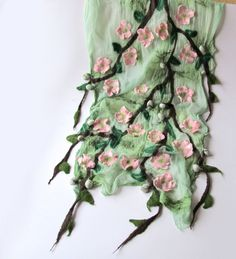 Nuno Felted scarf  pink  Apple blossoms. $119.00, via Etsy. #nunofelted #scarf #apple #blossoms #nunofelting #felting #felt #flower