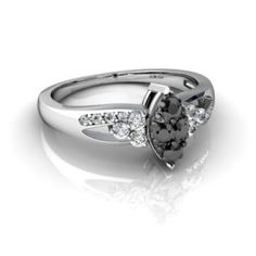 CERTIFIED BEAUTIFUL 0.36 ct BLACK & WHITE DIAMOND EXCELLENT WEDDING FINE RING.