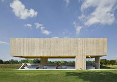 Cooper Joseph Studio - Webb Pavilion Texas Loving this public park pavilion in Texas by Architects Cooper Joseph Studio. In-situ concrete and pristine bright yellow paneling look deadly together. It's in Texas so it's probably sunny pretty much all the time so when the light hits the panels from above it gives off a yellow glow making it a focal point for the park. Along with its physical size; the clever stepped seating encourages the community to use it as a meeting place.