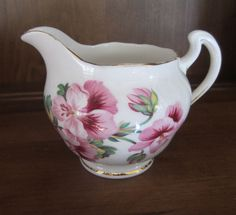 Vintage ENGLAND Royal Vale Bone China Pitcher Pink Pansies Cream Syrup Gold Trim #RoyalVale
