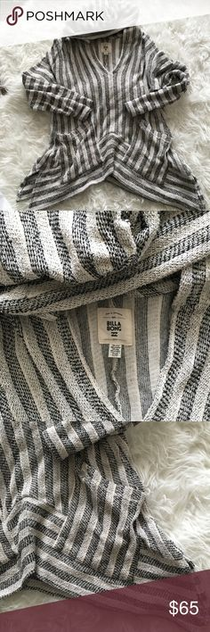 Billabong Woven Striped Hoodie Pullover Medium Billabong Woven Black and Creme Stripe Pullover. Hooded and two front pockets. Woven design and asymmetrical bottom.  Size medium, length is about 25 inches, sleeve 19.5, 19 inches across.   74% cotton / 26% polyester Machine wash Billabong Sweaters