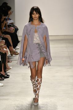 Lilac Fringed Cape with Creme Top and Lilac Skirt by Rebecca Minkoff RTW Spring 2016