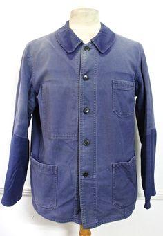 Original French work jacket  All Made from a very strong original indigo blue cotton canvas -