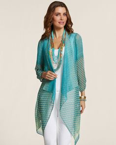 "Free spirited and boho chic: the ethereal jacket layer with a cascading drape and global print.   Subtle shirring details the cuffs.  Length: 30+"".  100% polyester.  Machine wash. Imported."