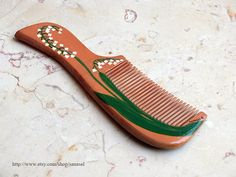 Hand painted wood comb original Lily of the valley May by Sanasel