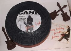 Johnny Cash Record Cake with chocolate mini guitars #poshcakedesigns #birmingham al #johnnycash