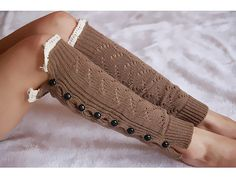 Khaki Womens Button Lace Legwarmers Lady's Lace Boot Toppers Lace Boot Socks Open Weave Button Down Lace Legwarmers Christmas Gift