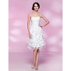 A-line Strapless Knee-length Chiffon Lace Cocktail Dress – USD $ 179.99