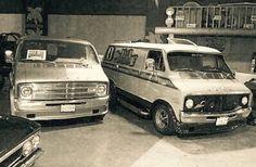 Double dose of custom Dodge vans.